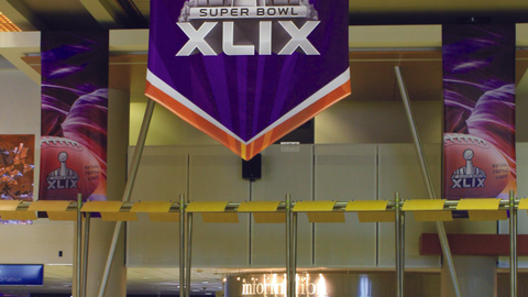 Super Bowl XLIX banners decorated Phoenix Sky Harbor Airport. Photo courtesy of City of Phoenix...