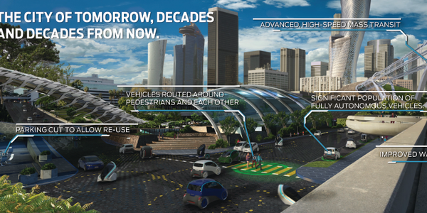 "Ford's ""City of Tomorrow"" envisions advanced transportation operating systems that integrate..."