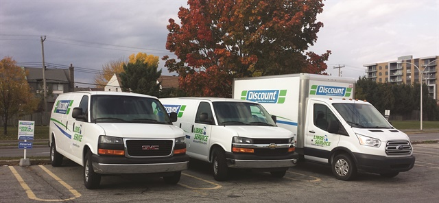 Discount Self-Service's trucks and vans are parked in dense commercial and residential neighborhoods in Quebec City and Montreal. Photo courtesy of Discount Car and Truck Rentals.