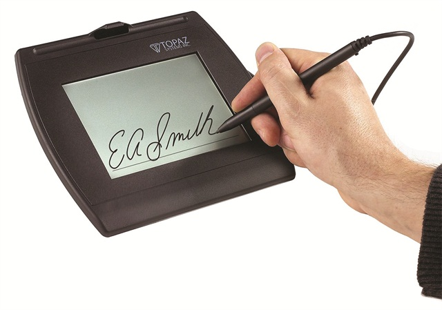 It's important for rental companies to establish best practices regarding e-signature pads use and disclosure. Photo credit: Computime