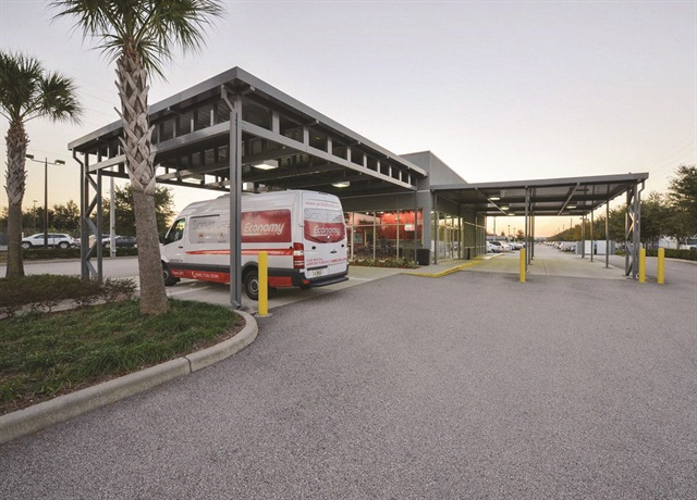 Orlando Economy's updated car rental and parking facility.