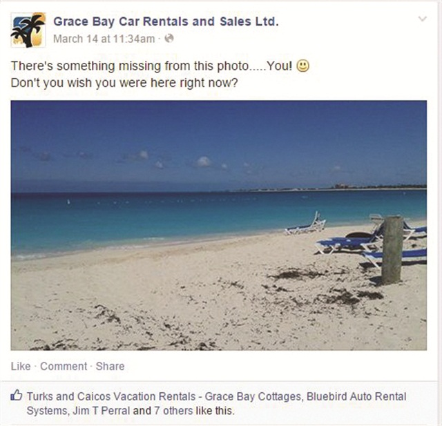 To help encourage travel to Turks & Caicos Islands, Grace Bay Car Rentals posts photos of the local beaches and scenery on its Facebook page.