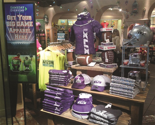 Phoenix Sky Harbor Airport had Super Bowl merchandise on sale for travelers. Photo courtesy of City of Phoenix - Aviation Department.