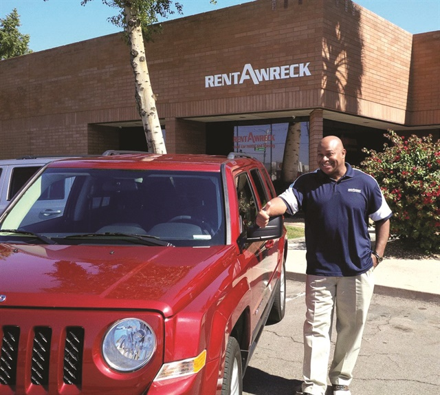 Rent-A-Wreck Operator Scott Neal has partnered with a local car wash to pay $12 a month per car for unlimited washes, which he provides customers as an added bonus. Photo courtesy of Scott Neal.
