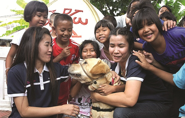 Davis Hawn's assistance dog Booster travels the world with Hawn to help demonstrate that dogs can aid people with physical and emotional disabilities. Here, Booster interacts with HIV-infected children in a Thai orphanage.