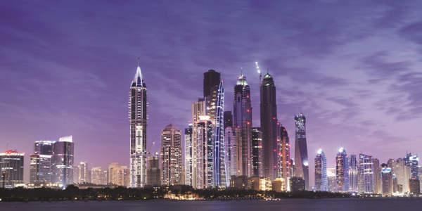 The skyline of Dubai, one of the seven emirates that make up the United Arab Emirates. Photo...