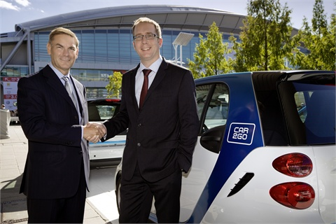The two CEO's of the joint-venture partners: Philippe Guillemot (Europcar, left) and Robert Henrich (car2go, right)