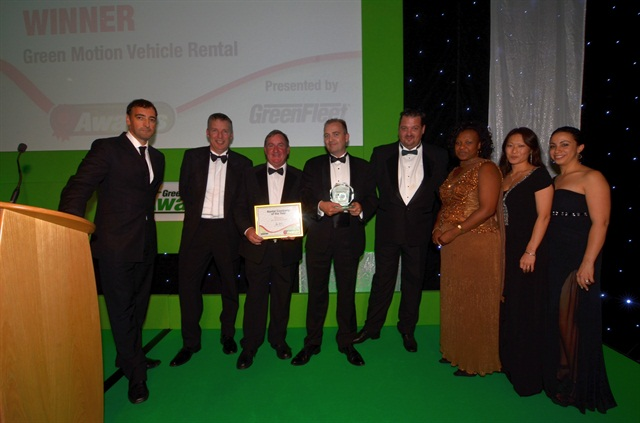 Green Motion receiving award at the Green Fleet Awards in the UK.