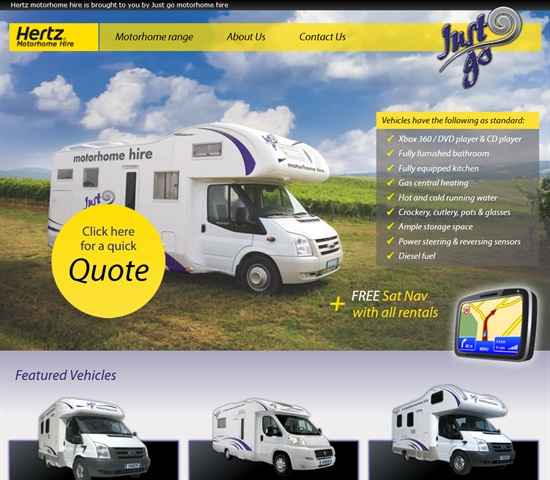 Screenshot of http://www.hertzmotorhomehire.com/.