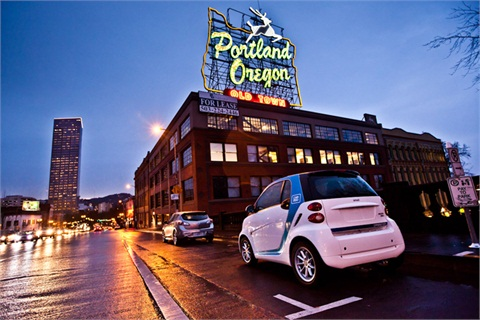 A car2go smart fortwo vehicle in Portland, Ore.