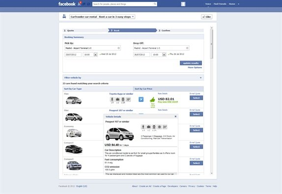 An example of the open source Facebook CarTrawler app.