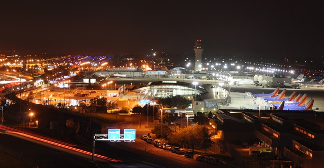 The St. Louis Lambert International Airport at night. Photo: JL Johnson/Flickr