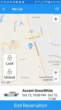 A snapshot from Pincars Car Share's mobile app shows the location of the vehicle. A user can lock and unlock the vehicle through the app. Photo courtesy of Pincars.
