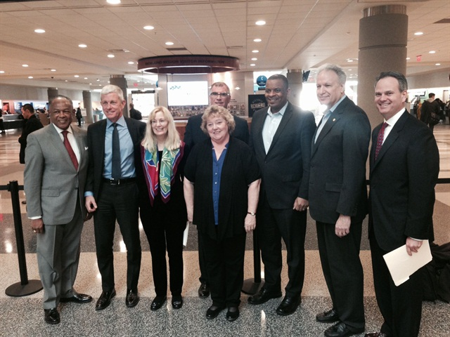 Pictured at the press conference at the Richmond International Airport (from left to right): Dwight Jones, mayor of Richmond; Rich Broome of The Hertz Corp; Rosemary Shahan, president of the Consumers for Auto Reliability and Safety; Sharon Faulkner, executive director of ACRA; Bob Muhs of Avis Budget Group; Secretary Anthony Foxx; Mark Rosekind, National Highway Traffic Safety administrator; and Gordon Reel of Enterprise Holdings.