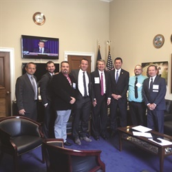 "At last year's Legislative Conference, ""West"" delegation visited the offices of former U.S. Rep. Jason Chaffetz (R-Utah) (right of flag). Chaffetz explained the importance of face-to-face interaction to understand the issues."