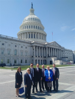 ACRA's D.C. group included (l to r) Tomi Gerber, Enterprise; Jim East, Hertz; Sharky Laguana, Bandago; Brian Rothery, Enterprise; Mike DeLorenzo, International Franchise Systems; Sharon Faulkner, executive director of ACRA; and Eric Rothman, Fast Track Leasing.