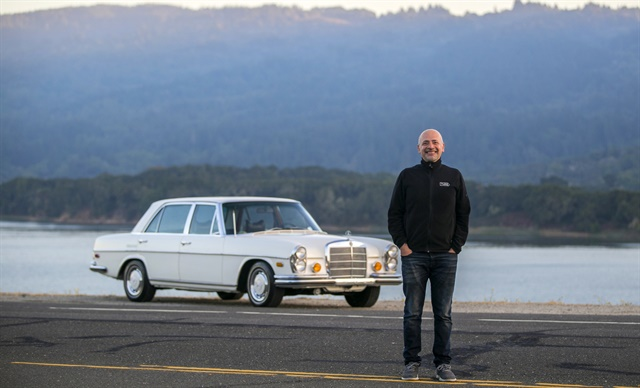 Andre Haddad, CEO of Turo, poses with a vintage Mercedes-Benz. Photo courtesy of Turo.