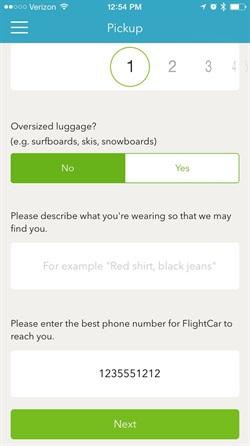 A screen shot from FlightCar's new mobile app. Photo via FlightCar.