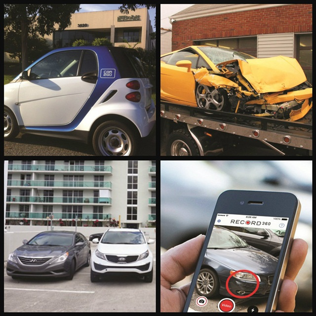 (Clockwise l. to r.) A look at the carsharing market and its growth potential; a report that discusses the problem with renting luxury/exotic vehicles; a closer look at on-demand car rental; Record360's technology that tracks vehicle damage.