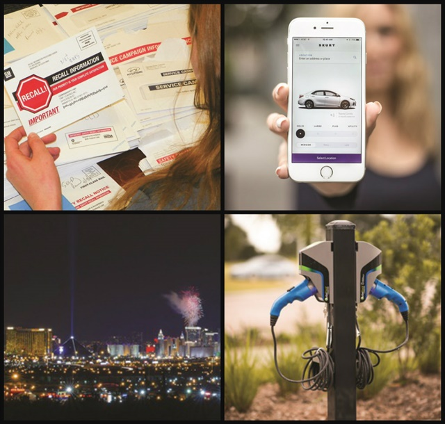 (Clockwise l to r) Rental companies react to the effect of the Safe Rental Car Act; Skurt is a new business model that delivers rental cars via a mobile app; the 2016 International Car Rental was held at Bally's in Las Vegas; Hertz offers EV charging to employees at its corporate headquarters as part of its sustainability efforts.