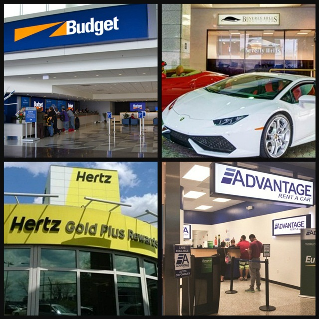 (Clockwise l. to r.) Budget opens a new licensee in Costa Rica; Gotham Dream Cars merges with Beverly Hills Rent-A-Car; Hertz completes its SEC financial filings; Advantage Rent A Car purchases E-Z Rent-A-Car.