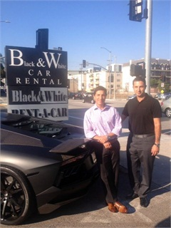 General Manager Dan Darvish and Owner Sam Zaman at Black and White Car Rental's location in Beverly Hills.