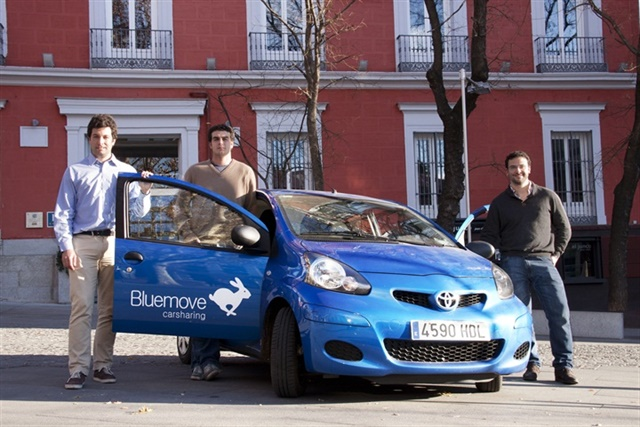 Founding partners of Bluemove Carsharing: Gabriel Herrero-Beaumont, Alejandro de Leon and Jorge Gonzalez-Iglesias.