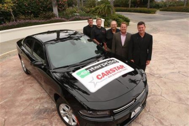 From Left to Right: Dan Young, Senior Vice President of Insurance Relations, CARSTAR Auto Body Repair Experts; David James, Vice President of Marketing, CARSTAR Auto Body Repair Experts; Ernie Laky, Vice President of Purchasing, CARSTAR Auto Body Repair Experts; Frank LaViola, Assistant Vice President of Collision Industry Relations, Enterprise Rent-A-Car; David Byers, CEO of CARSTAR Auto Body Repair Experts. Photo courtesy of Enterprise.