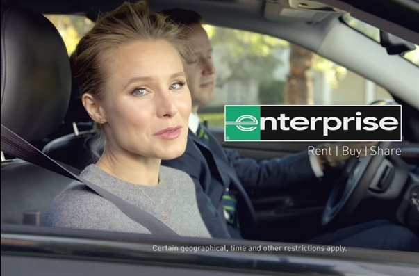 A screenshot from one of Kristen Bell's previous ads for Enterprise. Photo via Enterprise/Youtube