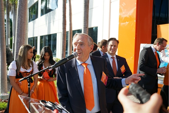 Erich Sixt, CEO of Sixt SE, spoke at Sixt Rent-a-Car's new North American headquarters in Fort Lauderdale at a ribbon-cutting ceremony. Photo courtesy of Sixt.
