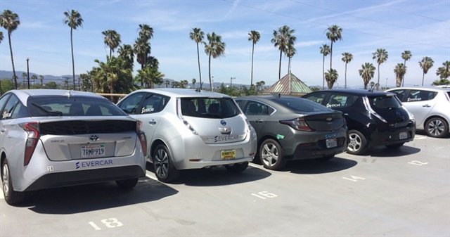 Evercar's electric vehicles parked at one of its Los Angeles locations. Photo courtesy of Evercar.