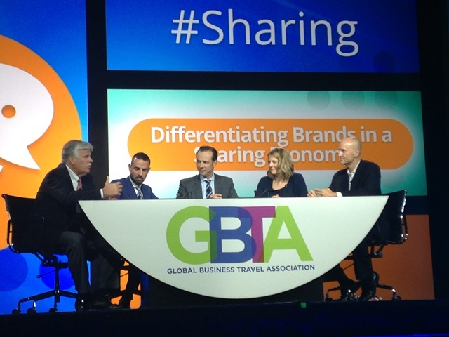 Enterprise Holdings Chief Strategy Officer Greg Stubblefield (left) joined Rufino Pérez Fernández, chief commercial officer of NH Hotel Group; panel moderator Guy Langford, vice chairman of Deloitte; Kaye Ceille, president of Zipcar; and Chip Conley, head of global hospitality and strategy of Airbnb, to discuss how to differentiate brands in the sharing economy. Photo courtesy of Enterprise Holdings.