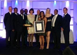 Winners of the 2016 Manufacturer of the Year Awards pose at the awards ceremony in Johannesburg, South Africa.