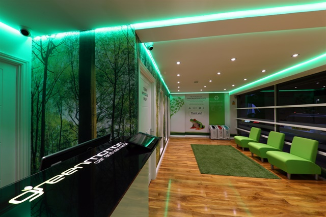 Green Motion's new inside branding and look at one of its UK locations. Photo courtesy of Green Motion.