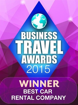 Hertz ins the Best Car Rental Company award at the 2015 Business Travel Awards. Graphic via Hertz Corp.