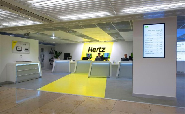 Hertz redesigned its Frankfurt Airport location with new technology and environmentally friendly materials. Photo courtesy of The Hertz Corp.