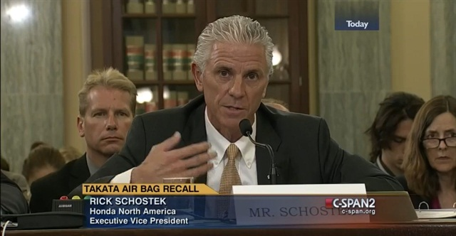 A screen shot of Rick Schostek, executive vice president of Honda North America, at the Senate committee hearing on the Takata air bag recall.