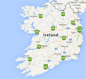 Irish Car Rentals locations throughout Ireland. Map courtesy of Irish Car Rentals.