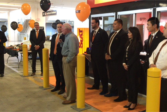 Jerry Sanders, former mayor of San Diego and current president of the San Diego Regional Chamber of Commerce, officially opened the Sixt location at San Diego International Airport. (Photo by Matt Faraci.)