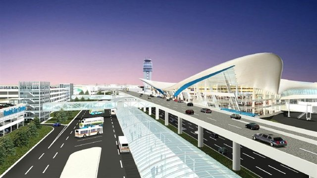 This drawing depicts the rental car facility in relation to the future terminal. Illustration courtesy of John Glenn Columbus International Airport.