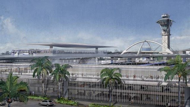 Illustration of LAX's Automated People Mover and consolidated rental car facility. Design courtesy of Los Angeles World Airports.