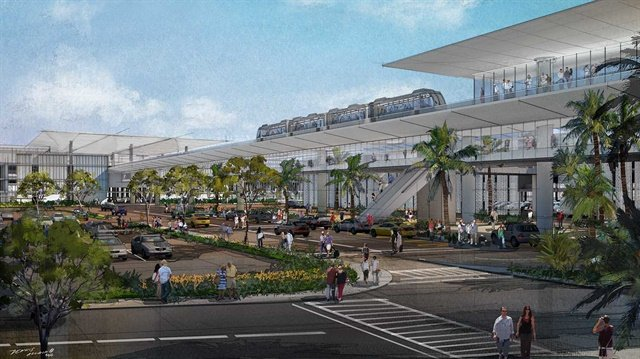 An illustration of the proposed consolidated rental car facility at Los Angeles International Airport. Illustration courtesy of Los Angeles World Airports.