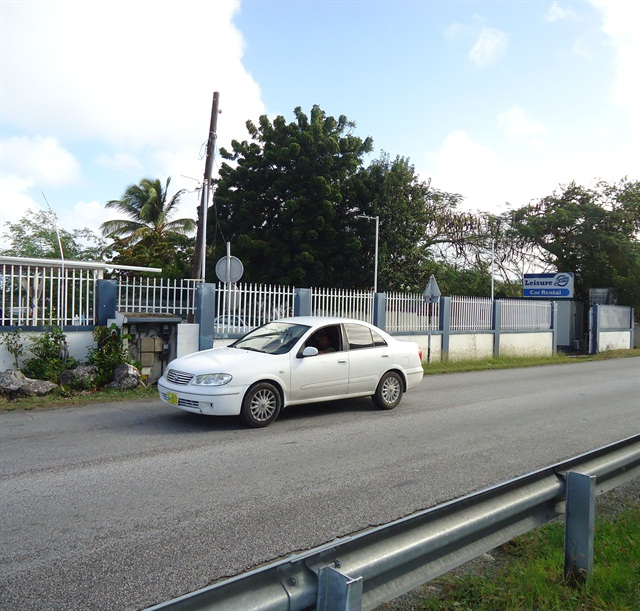 The front of Leisure Car Rental's location near St. Maarten's Princess Juliana International Airport.