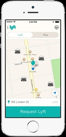 How to request a ride on Lyft's mobile app. Photo courtesy of Lyft.