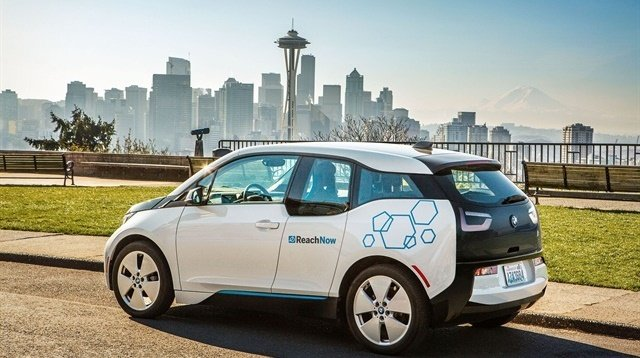 One of ReachNow's BMW i3 carsharing vehicles in Seattle. Photo courtesy of BMW Group.