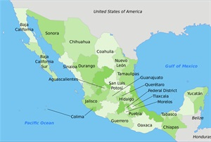 Map of Mexico. Photo via Wikimedia/Manuel Balarezo