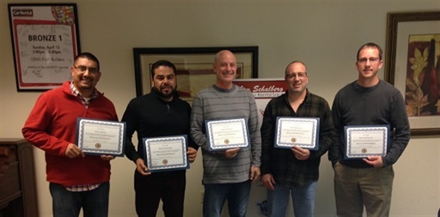 Schalberg's first new operator class of 2017 graduates included (l to r) Saul Garcia, Oliver Nevarez, Larry Fishman, John Speranza, and Ryan McFadden. Photo courtesy of Jim Schalberg