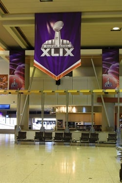 Phoenix Sky Harbor Airport's banners for the upcoming Super Bowl. Photo courtesy of City of Phoenix.