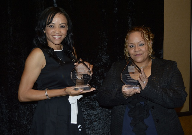Jacqueline Joseph (left), marketing manager at Leisure Car Rental in St. Maarten, and Kathy Nieves from the Thrifty Car Rental franchise in Syracuse, N.Y. received Professional of the Year Awards at the 2013 Auto Rental Summit.