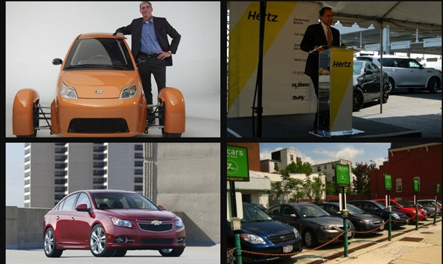 (Clockwise from l. to r.) Paul Elio founder and CEO of Elio Motors; Mark Frissora, former CEO and chairman of Hertz Corp.; 2014 Chevrolet Cruze; Zipcar car-sharing vehicles